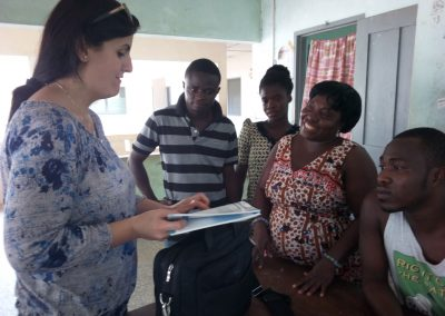 Cartherine giving insight on Maternal health cards used for education of pregnant women